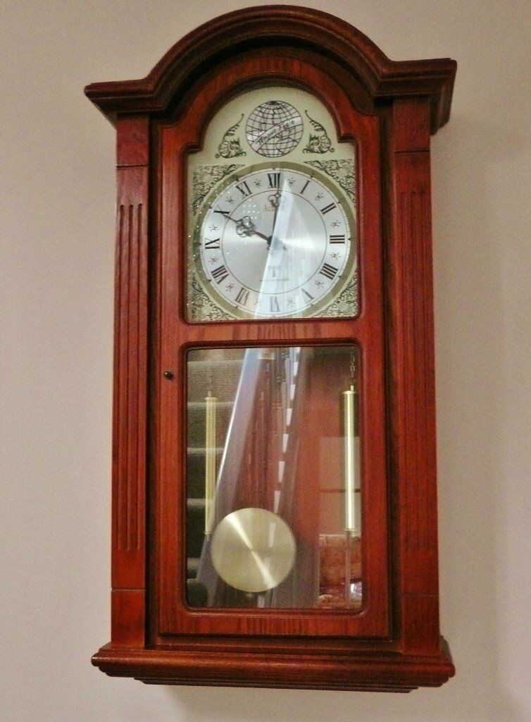 Acctim radio controlled wooden grandfather grand father style wall clock pendulum mahogany - Stylish pendulum wall clock ...