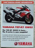 Yamaha 1999 Model Information Motorcycle Sales Brochure Yzf-r7 0w02 Fzs600 ++ - yamaha - ebay.co.uk
