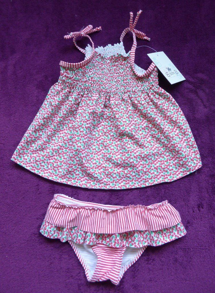 4ea9988b7 Stunning baby girls swimming 2-piece outfit (6-12 months) Cherry print ...