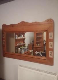 Huge carved pine mirror. Vintage style mirror. Large mirror