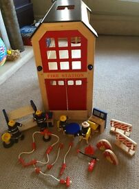 Pin Toy Wooden Fire Station, Fire Engine, 4 Firemen and Accessory Set