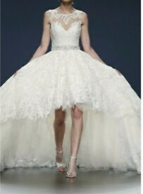 JUSTIN ALEXANDER 9818 HIGH LOW BALLGOWN SIZE 12 LACE AND TULLE ILLUSION NECK LINE