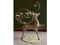 Fabulous Vintage Burnished Gold Scrolled Metalwork Stag / Reindeer Xmas Candelabra: