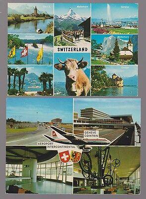 SWITZERLAND Two, multi-view postcards unused