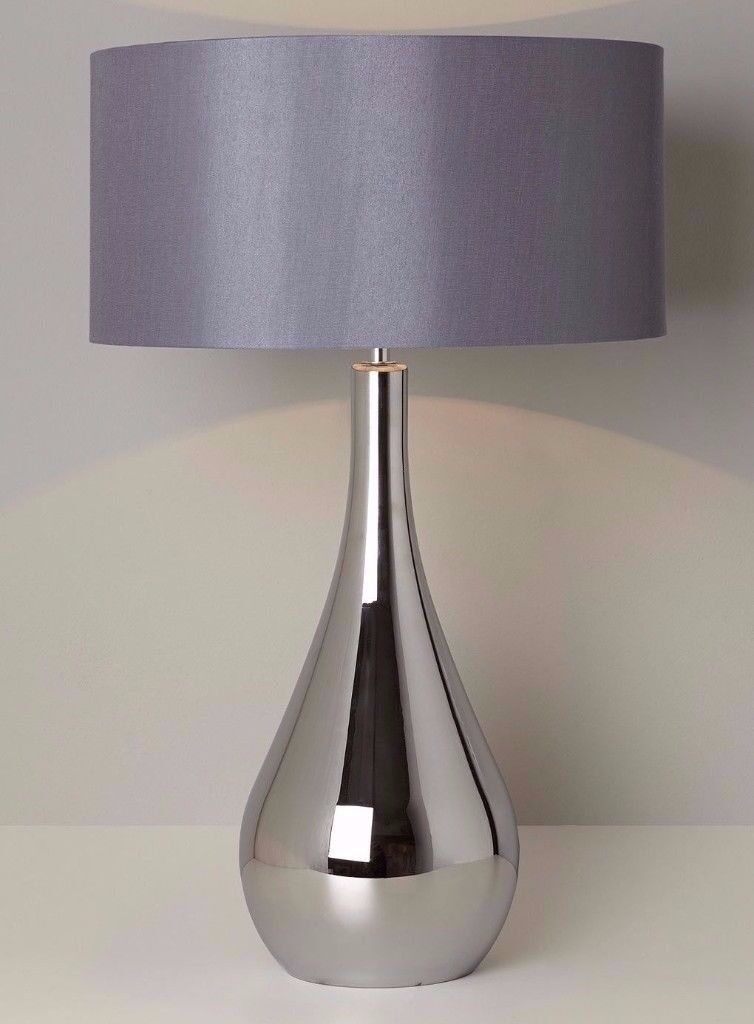 Brand New 2 x BHS Lily Table Lampshades Dark Grey Blue Bestseller