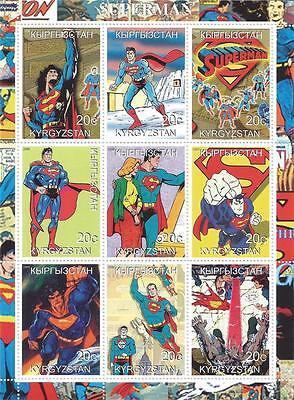 SUPERMAN CLASSIC VINTAGE IMAGES KYRGYZSTAN 2000 MNH STAMP SHEETLET
