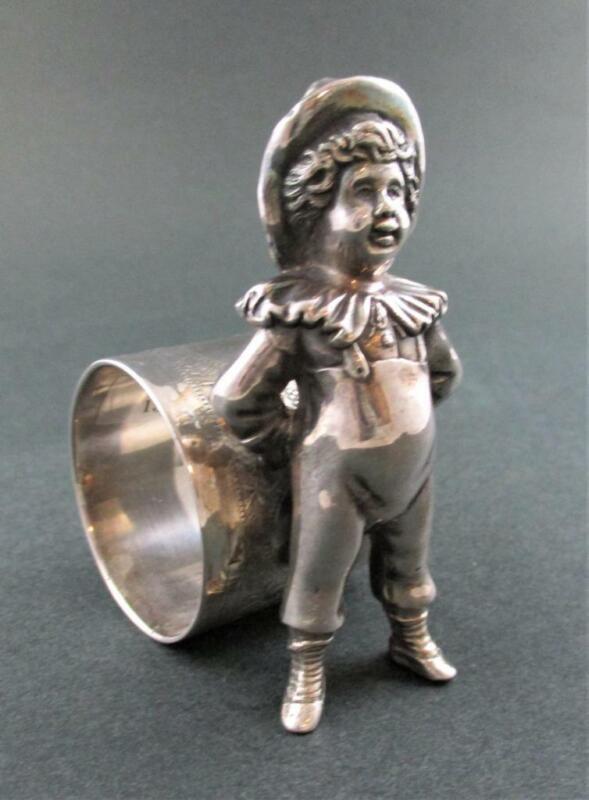 BOY Ruffled Collar - antique Figural NAPKIN RING - Kate Greenaway MERIDEN #234