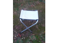 Camping Stools - New Unused - White Polyester Fabric Seats with Steel Legs - Very Light