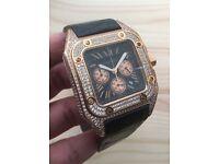 New rose gold cartier santos xl iced diamond watch