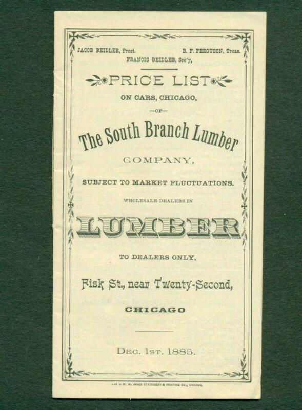1885 PRICE LIST, THE SOUTH BRANCH LUMBER Company, CHICAGO ILLINOIS, ARCHITECTURE