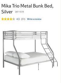 Mika Trio Metal Bunk Bed, Silver