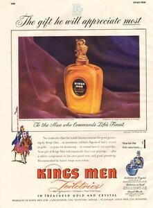 1948 large full-page color ad for Kings Men Toiletries