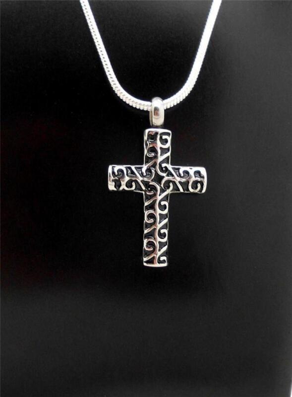 Black & Silver Celtic Keepsake Memorial Cross Cremation Funeral Urn Pendant NIB