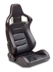 Pair of Black PU Leather Sport Seats - Bucket Seat / Reclining Seats - Racing Car Seats - Runners