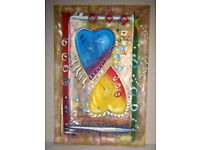 Picture painting oil on canvas stretched on frame Two Hearts 3ft x 2ft unknown artist