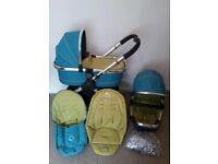 Icandy peach 2 sweet pea stroller,carry cot,footmuff,seat liner,bumper bar and rain cover VGC