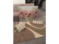 Green lounge accessories including rug, 2 cushions, floor length curtains and canvas picture, £25