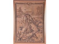 ANTIQUE LARGE FRENCH HAND WOVEN TAPESTRY IN GILT GLAZED FRAME V.G. CONDITION