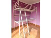 IKEA SVÄRTA White Metal Loft Bed (High Sleeper) with Desk & Shelf