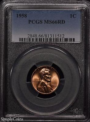 1958 Lincoln Wheat Penny Cent 1c ~ PCGS MS66 RED ~ STUNNING!
