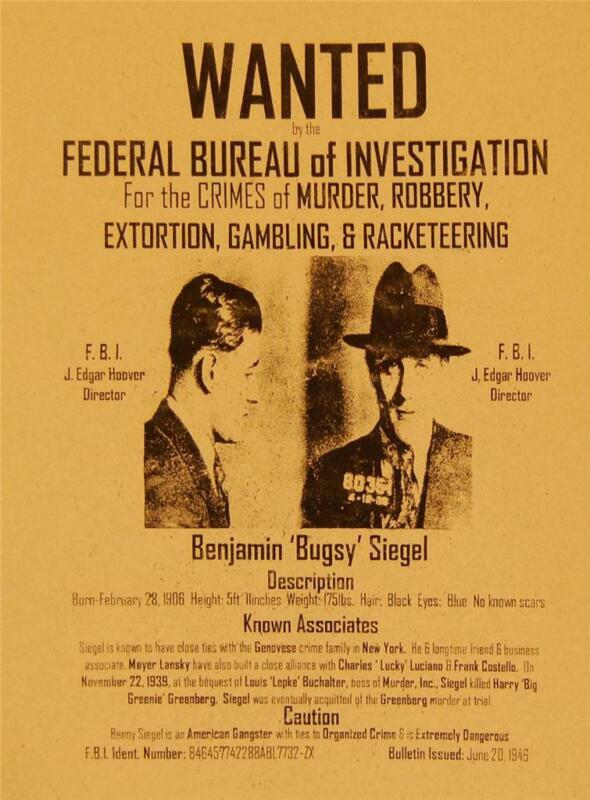 FBI Wanted Poster Benjamin Bugsey Siegel Las Vegas and Los Angeles Mob
