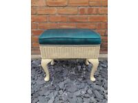 Turquoise Blue Cushioned Beige Rattan Standing Sewing Box