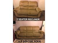 DFS LIGHT OLIVE FABRIC 2 SEATER MANUAL RECLINER & 3 SEATER SOFA SET * LEICESTER