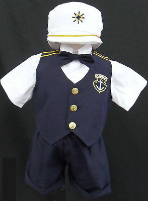 New Baby Toddler Boy kid Navy sailor outfit suit set size 0 1 2 3 4 5 (0-24M) (Childrens Sailor Suits)