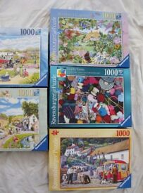 RAVENSBURGER JIGSAW PUZZLES, FIVE 1000 PIECE. ALL COMPLETE.