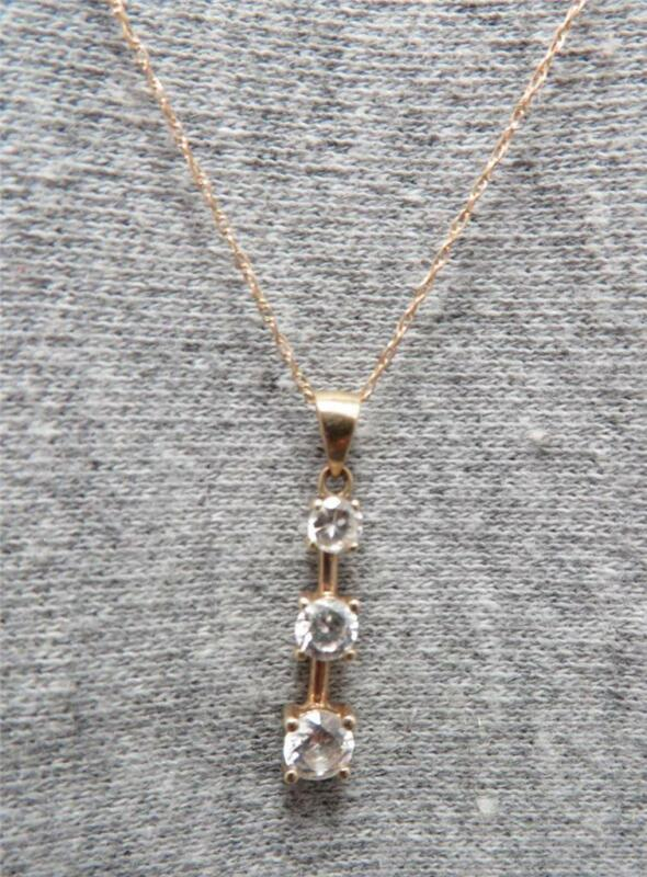"10K yellow gold ladies 18"" chain necklace w/ cz pendant yesterday today tomorrow"