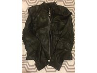 Black Leather Jacket - size 10. Silver zip - very good condition.