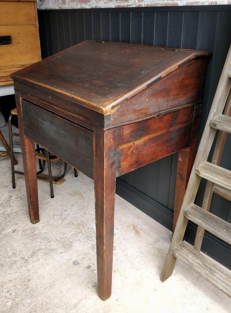 Vintage wooden desk, Antique teachers desk, school desk, restaurant desk, reception  desk - Vintage Wooden Desk, Antique Teachers Desk, School Desk, Restaurant
