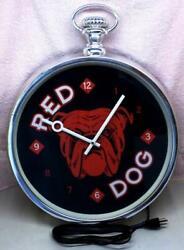 Vintage Red Dog Beer Pocket Watch Advertisement Illuminated Wall Clock