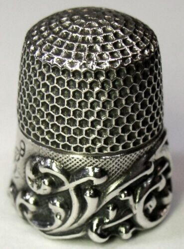 "Antique Ketcham & McDougall Sterling Silver Thimble  ""Scroll""  ""BAR"" Mngm C1890s"