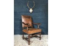 Stunning Antique French Leather Armchair
