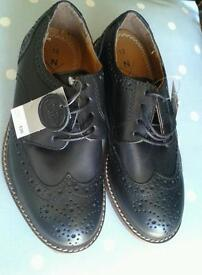 Next boys black leather brogues smart shoes suze uk 12