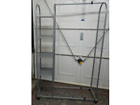 metal clothes rail with shelves