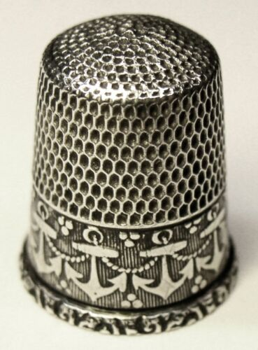 "Antique Simons Bros. Sterling Silver Thimble  ""Anchors"" Design  C1920s"