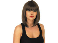 New Ladies Fun Shack Straight Brown Wig Bob Hair Cut.