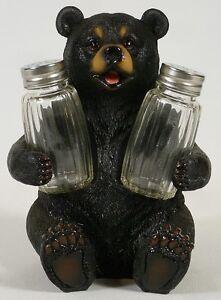 BLACK-BEAR-SALT-PEPPER-SHAKER-HOLDER-New-NIB-Kitchen-Dining-Table-Wildlife-Cub
