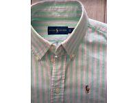 BRAND NEW Ralph Lauren Shirt XS men's /boys green&pink stripe