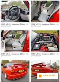 BMW M5 E34 Max Power Car. Immaculate Condition. Red with grey leather interior 1992 J reg.
