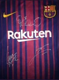 17-18 season hand Signed Barcelona shirt with Coa