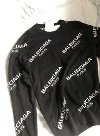 Men's Large Balenciaga Black Jacquard Logo Crewneck Jumper