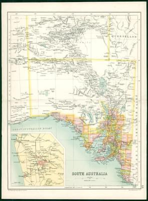 1912 Original Colour Antique Map - SOUTH AUSTRALIA (3)