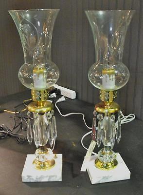 Antik ein Paar Vanity oder Kommode Lampen mit / Glas Kugeln & Kristalle Schön ()