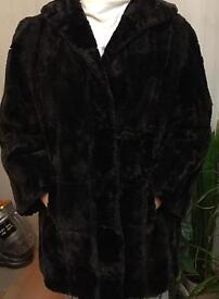 Real fur black coat