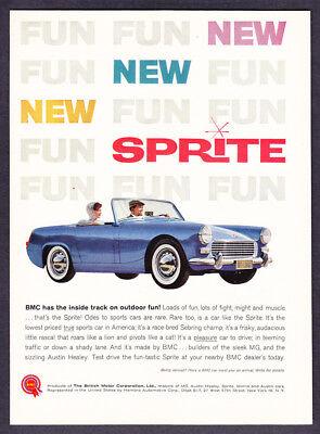 """1961 BMC Sprite Convertible photo """"Outdoor Fun!"""" vintage promo print ad"""
