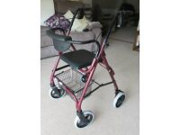Lightwieght Folding 4 Wheel Mobility Walker