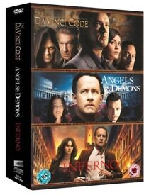 triple box set of Dan Brown dvds da vinco code, inferno & angels & demons